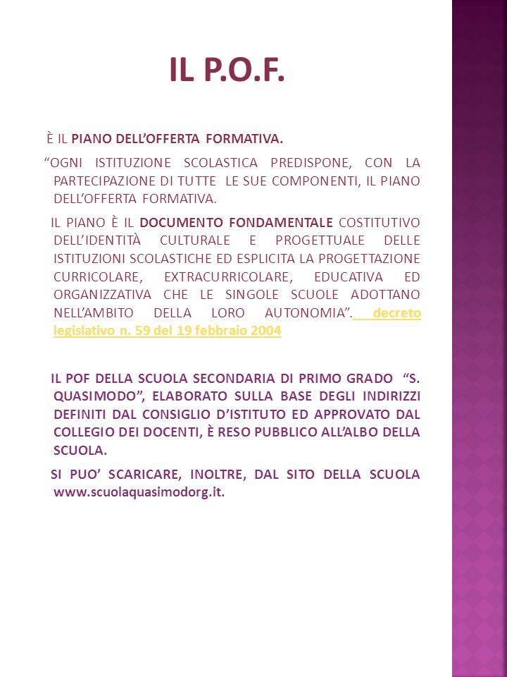 IL P.O.F. È IL PIANO DELL'OFFERTA FORMATIVA.
