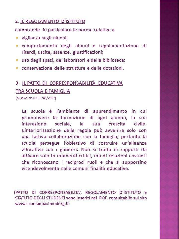 2. IL REGOLAMENTO D'ISTITUTO