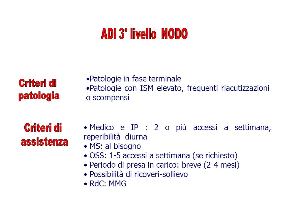 ADI 3° livello NODO Patologie in fase terminale. Patologie con ISM elevato, frequenti riacutizzazioni o scompensi.