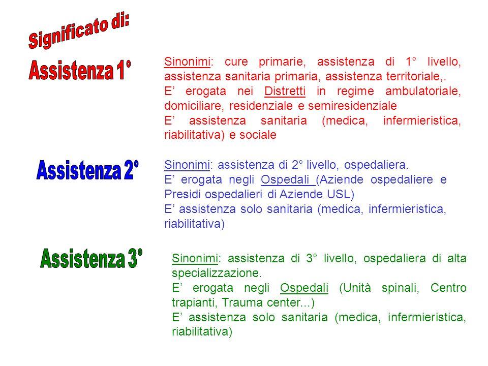 Significato di: Assistenza 1° Assistenza 2° Assistenza 3°