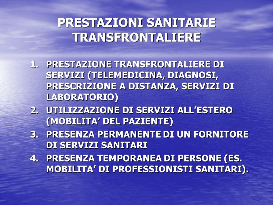 PRESTAZIONI SANITARIE TRANSFRONTALIERE