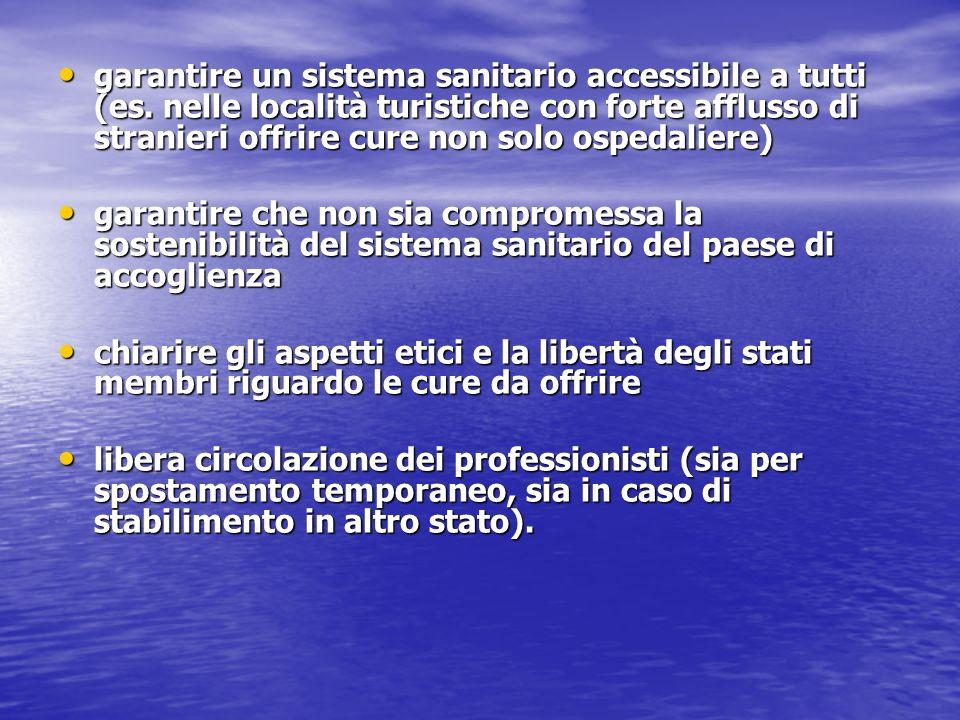 garantire un sistema sanitario accessibile a tutti (es