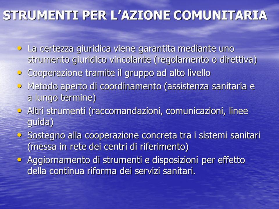 STRUMENTI PER L'AZIONE COMUNITARIA