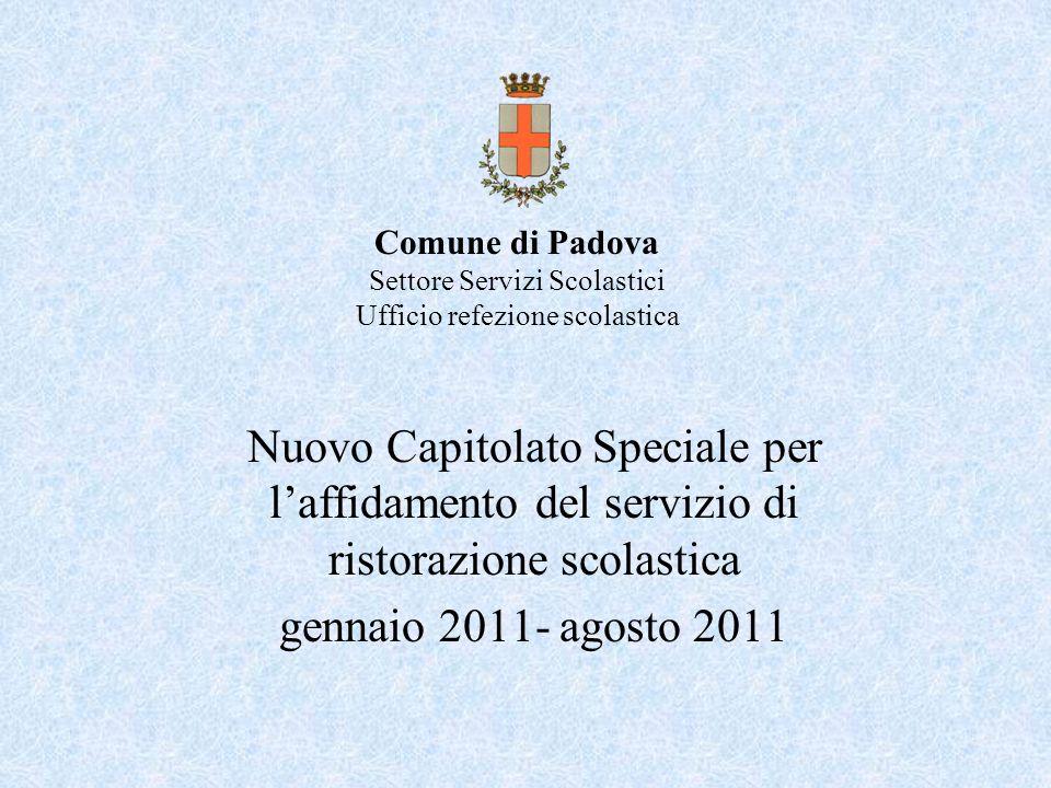 Comune di Padova Settore Servizi Scolastici Ufficio refezione scolastica