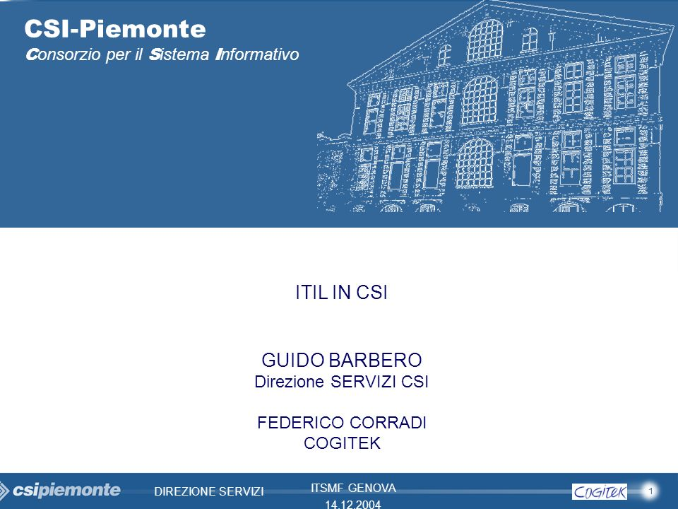 CSI-Piemonte ITIL IN CSI GUIDO BARBERO