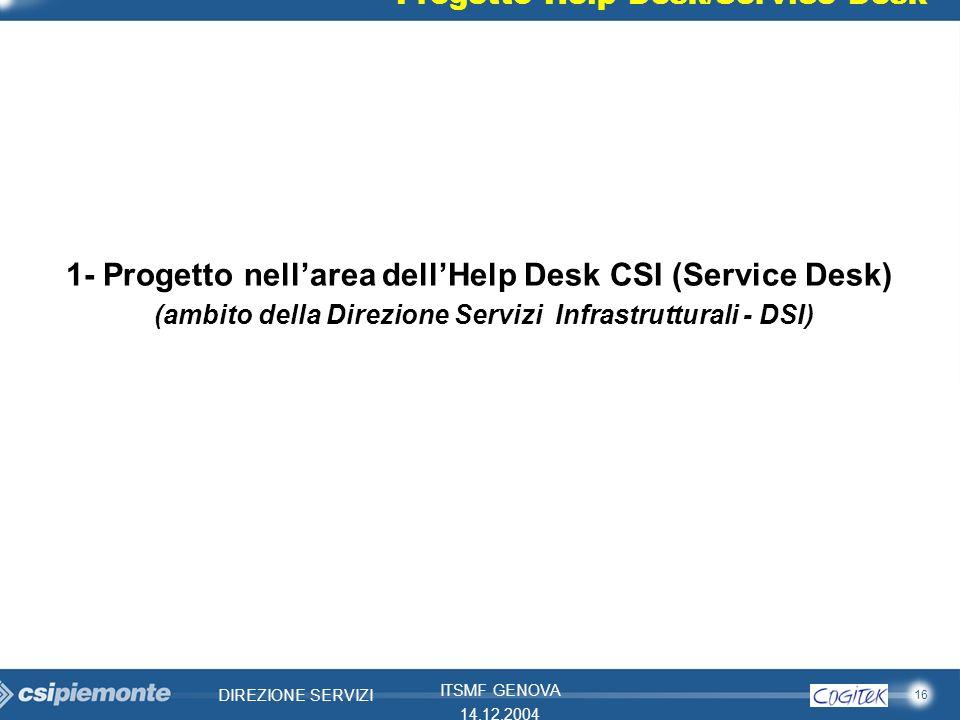 1- Progetto nell'area dell'Help Desk CSI (Service Desk)