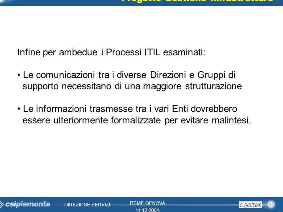 Infine per ambedue i Processi ITIL esaminati: