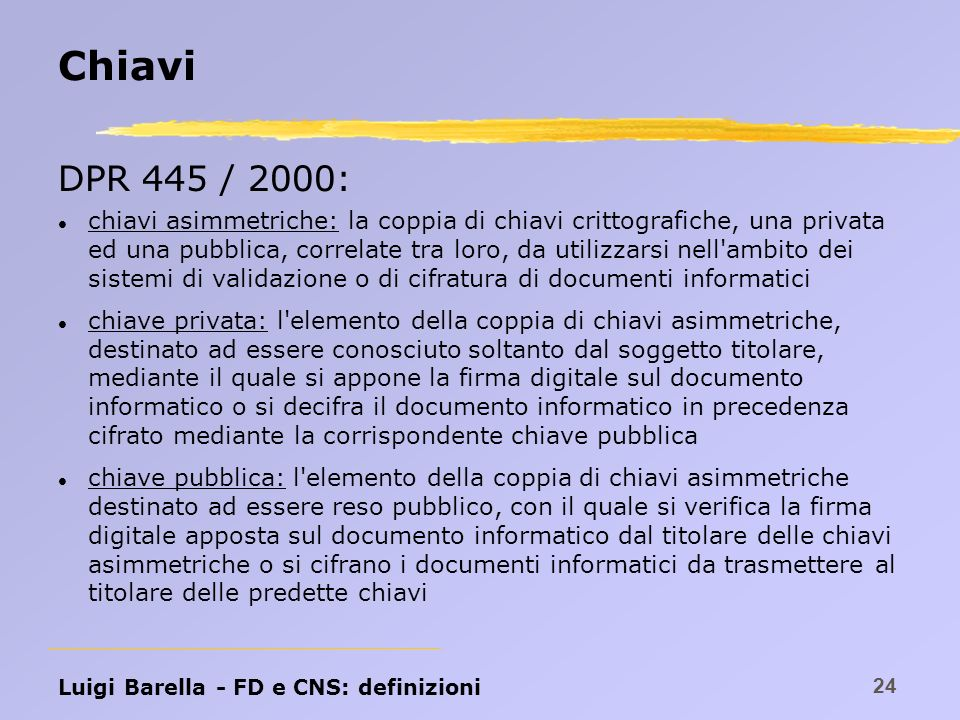 Chiavi DPR 445 / 2000: