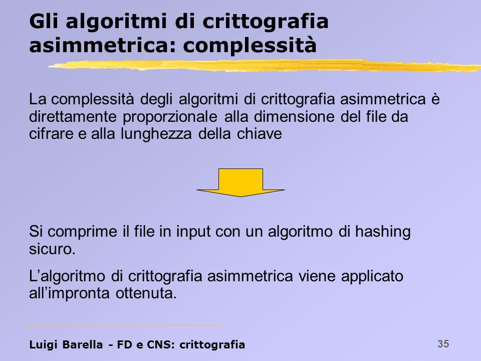Gli algoritmi di crittografia asimmetrica: complessità