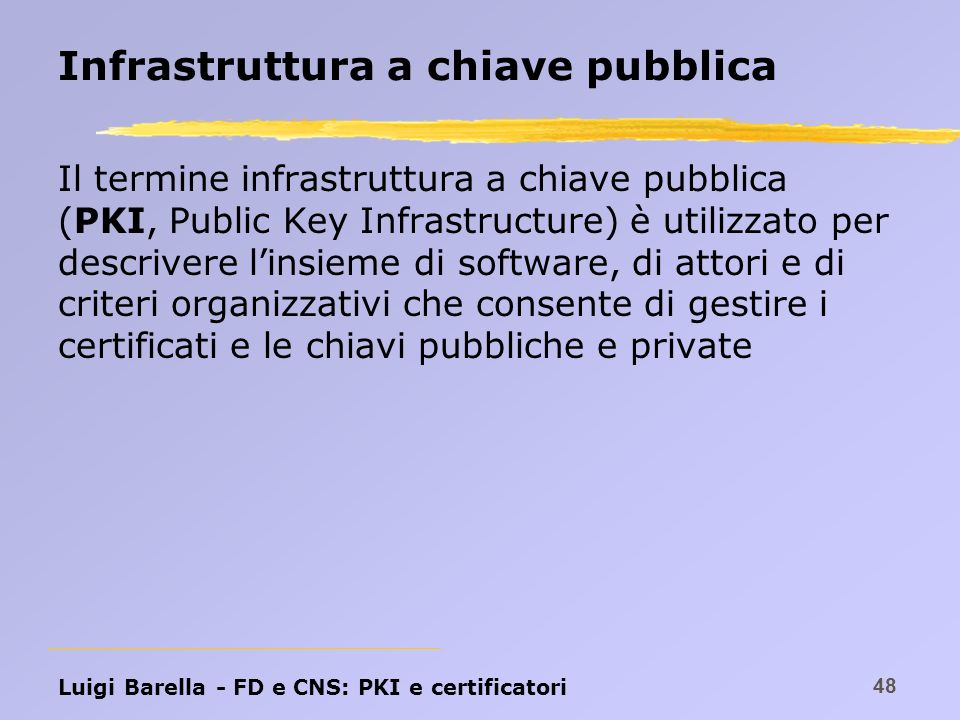 Infrastruttura a chiave pubblica