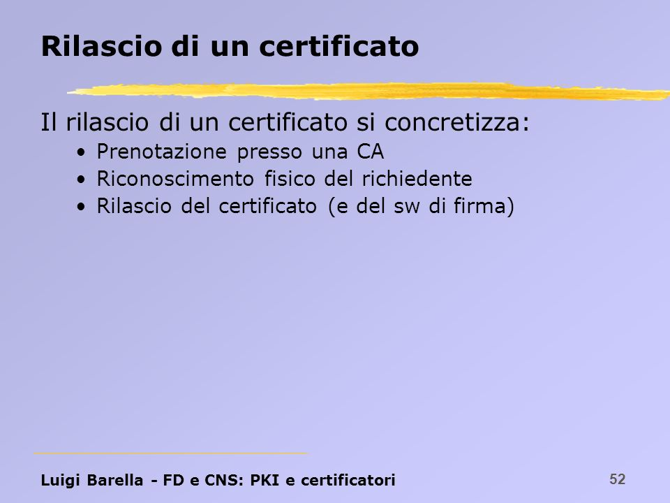 Rilascio di un certificato
