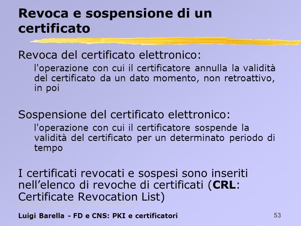 Revoca e sospensione di un certificato