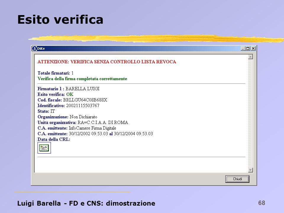 Esito verifica Luigi Barella - FD e CNS: dimostrazione