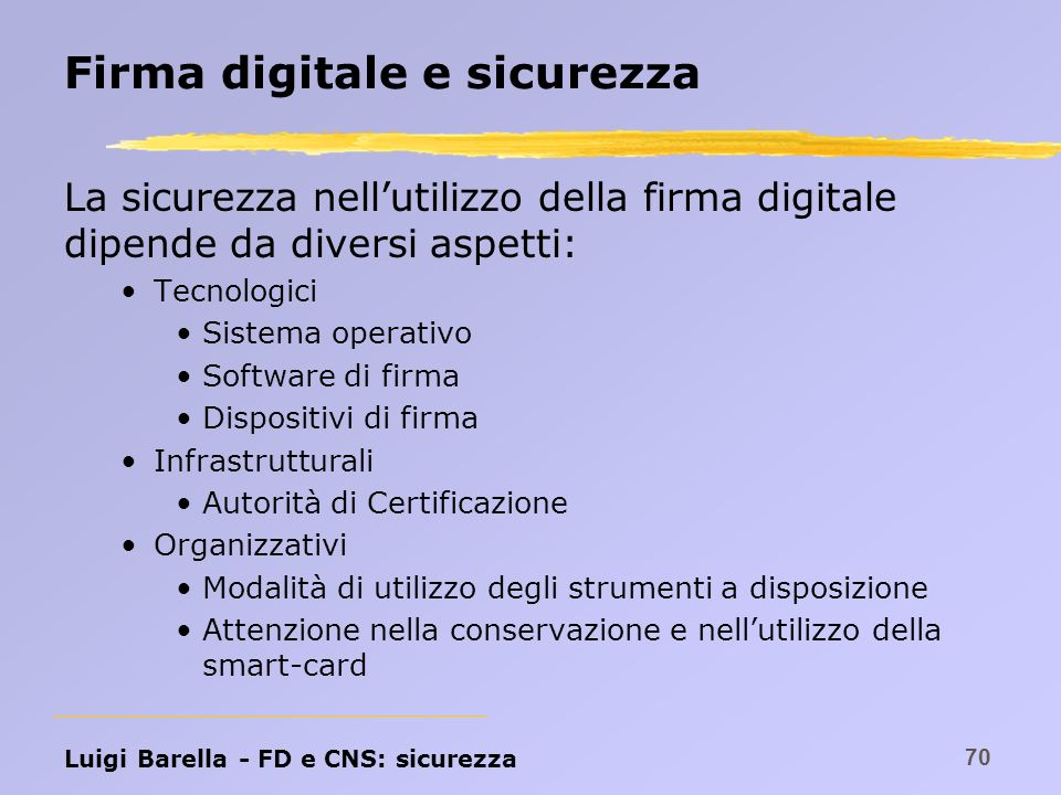 Firma digitale e sicurezza