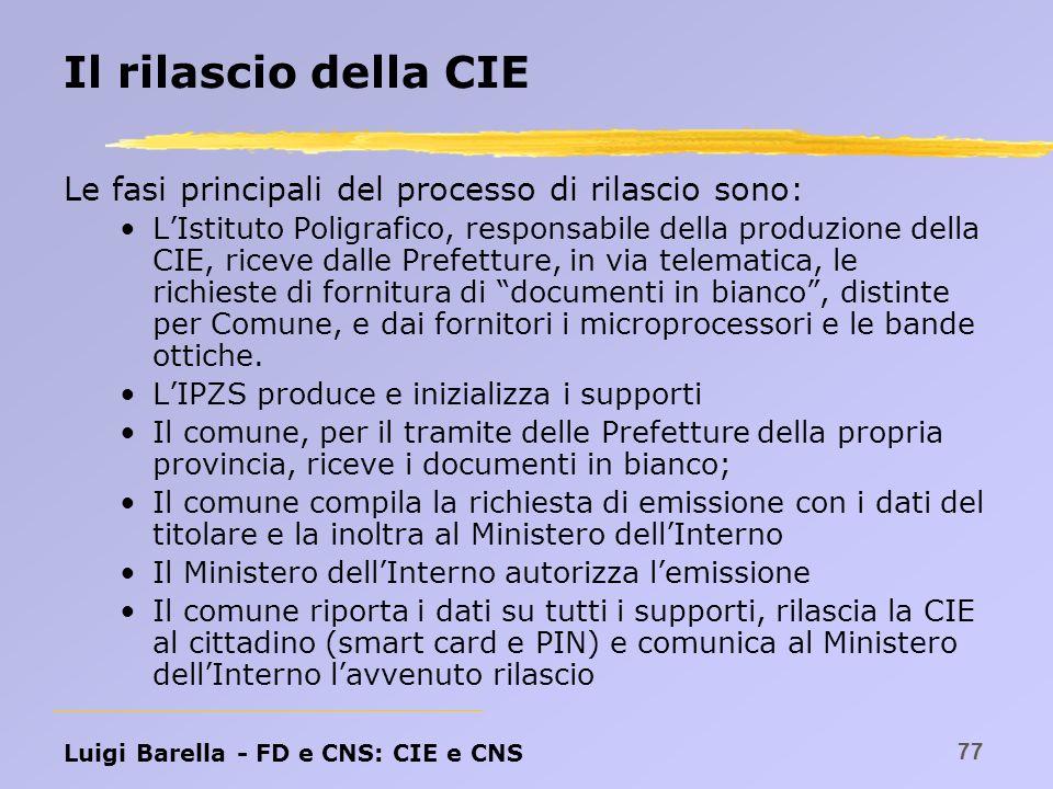 Il rilascio della CIE Le fasi principali del processo di rilascio sono: