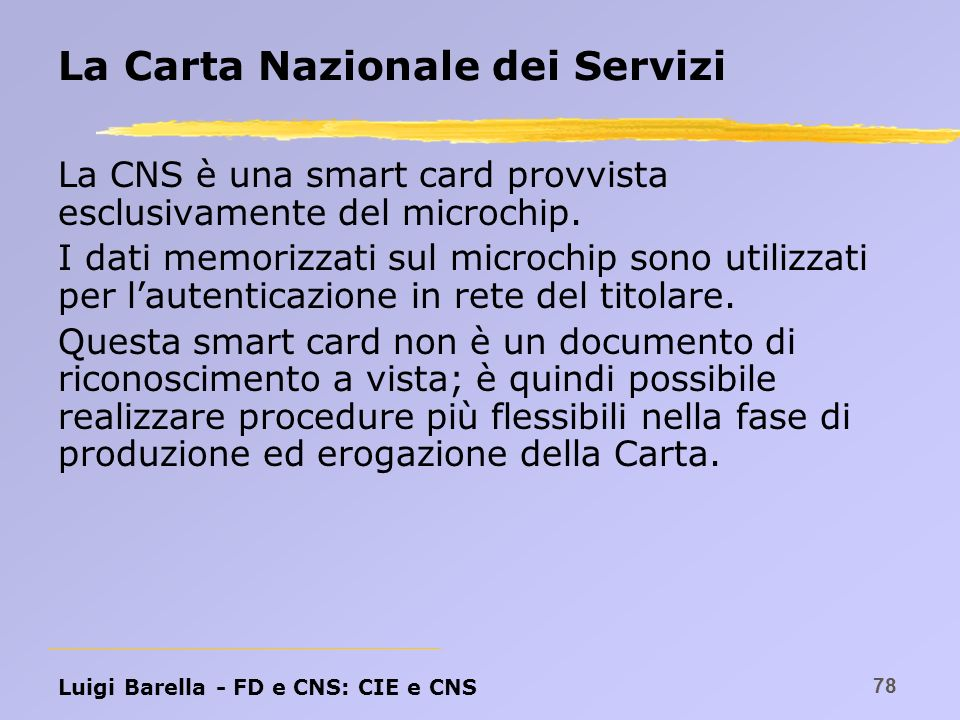 La Carta Nazionale dei Servizi