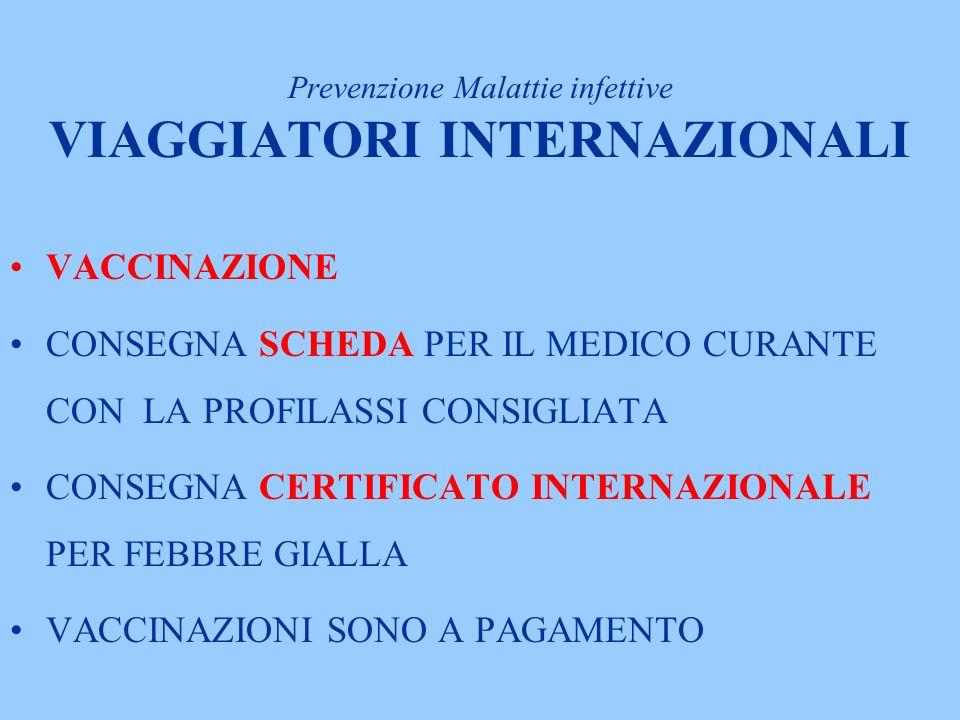 Prevenzione Malattie infettive VIAGGIATORI INTERNAZIONALI