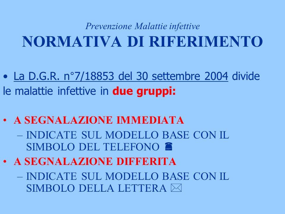 Prevenzione Malattie infettive NORMATIVA DI RIFERIMENTO