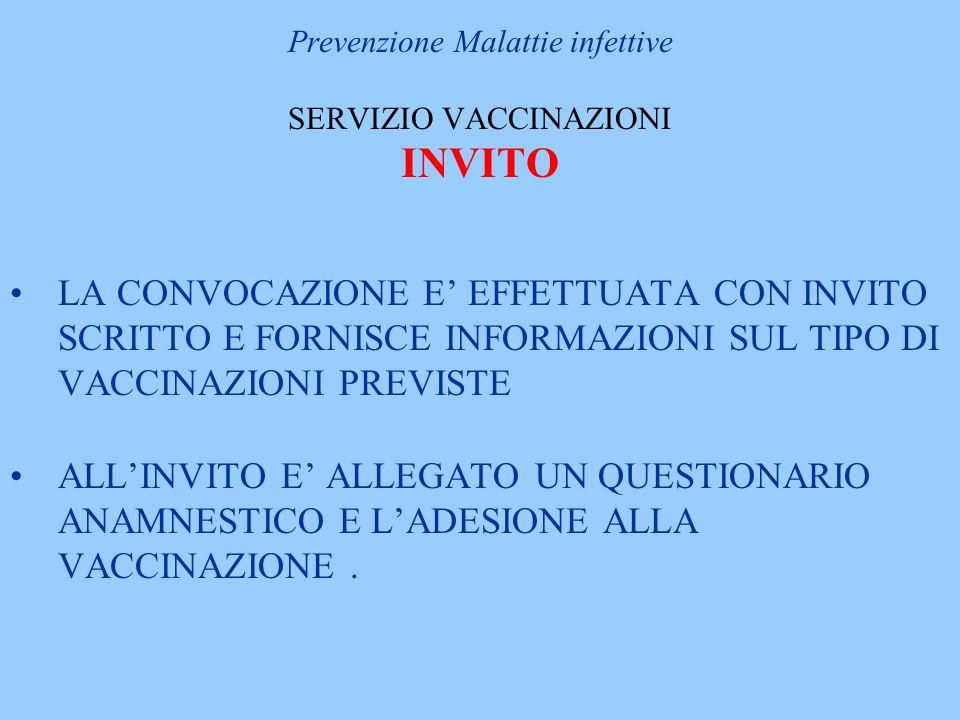 Prevenzione Malattie infettive SERVIZIO VACCINAZIONI INVITO