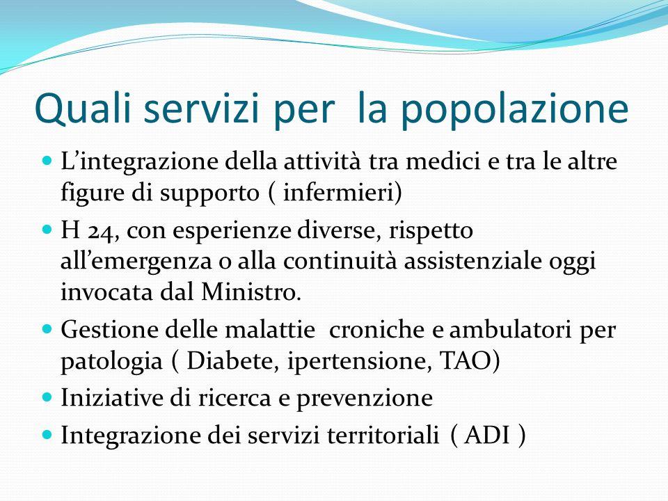 Quali servizi per la popolazione