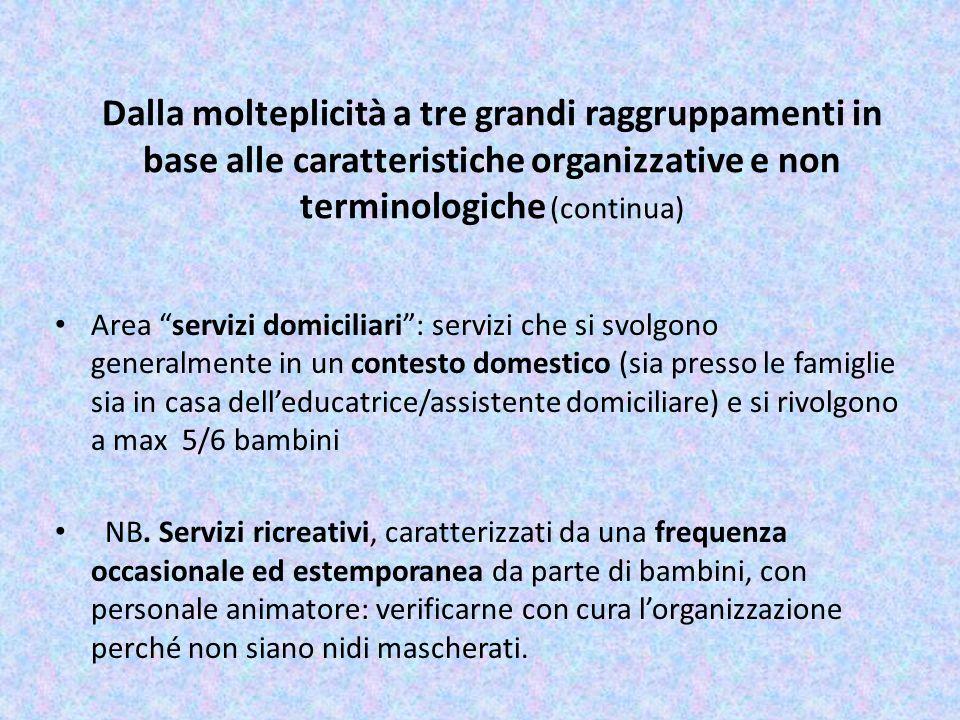 Dalla molteplicità a tre grandi raggruppamenti in base alle caratteristiche organizzative e non terminologiche (continua)