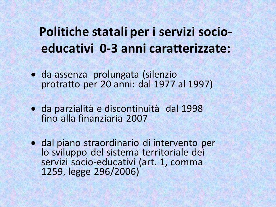 Politiche statali per i servizi socio-educativi 0-3 anni caratterizzate: