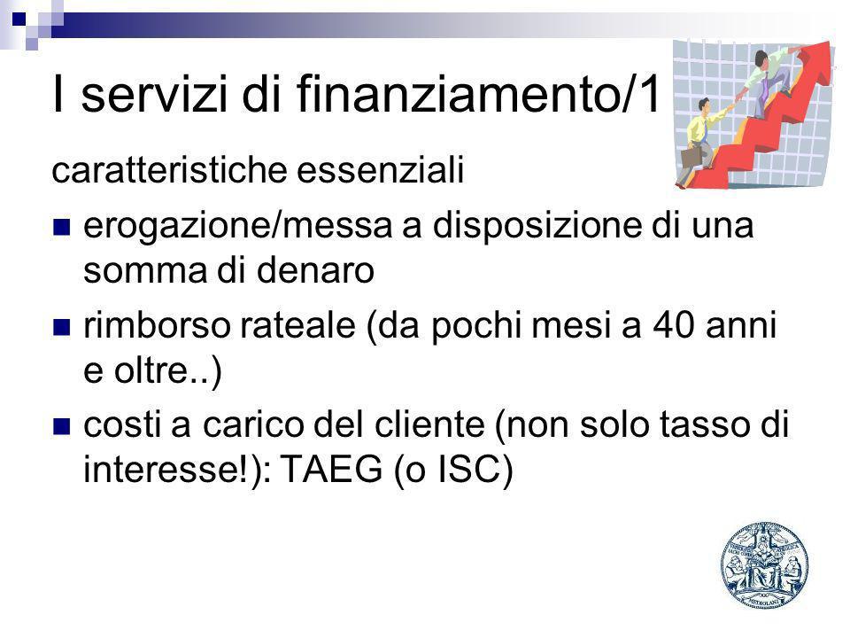 I servizi di finanziamento/1