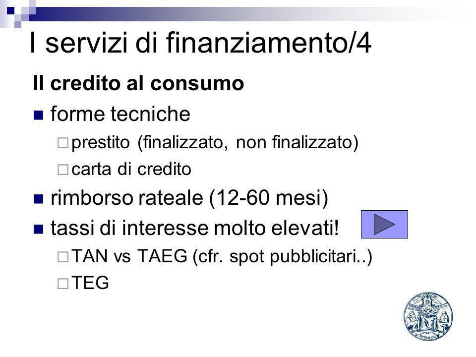I servizi di finanziamento/4