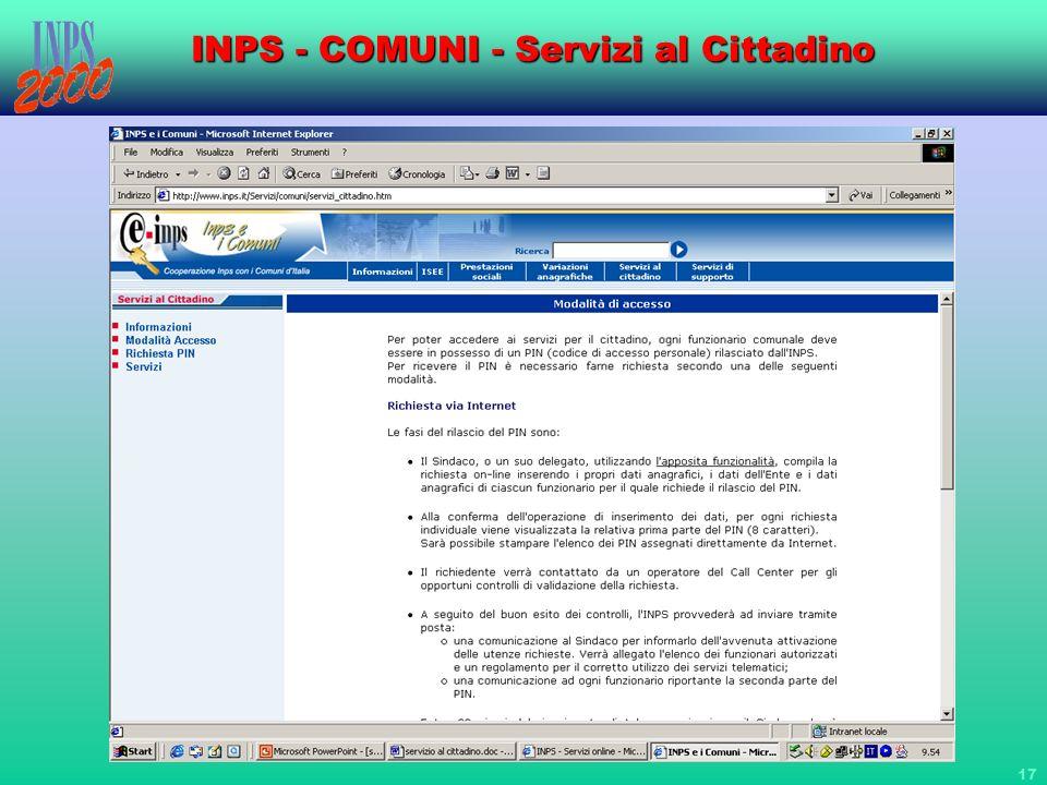 INPS - COMUNI - Servizi al Cittadino