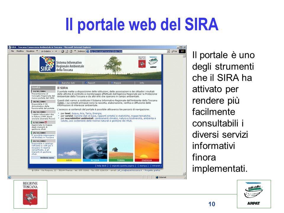 Il portale web del SIRA