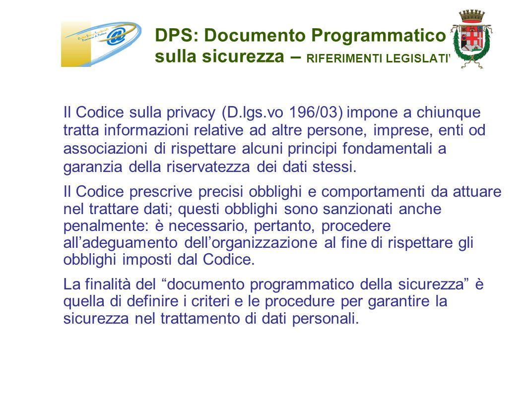 DPS: Documento Programmatico sulla sicurezza – RIFERIMENTI LEGISLATIVI