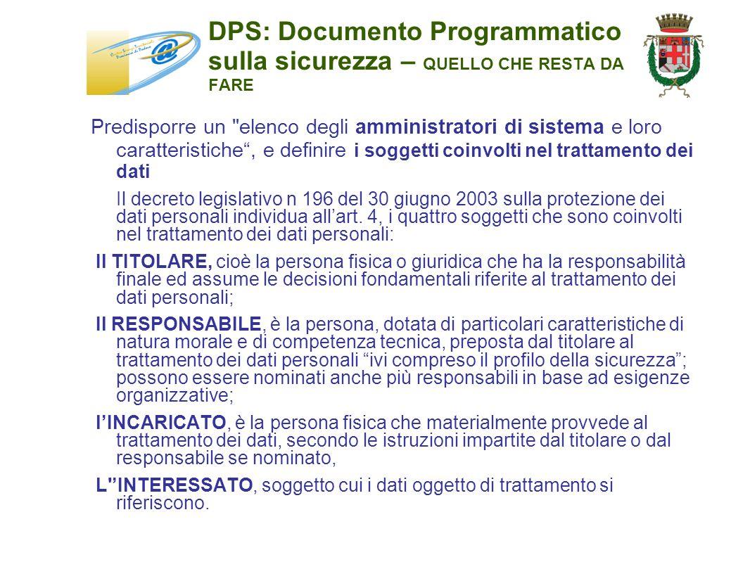 DPS: Documento Programmatico sulla sicurezza – QUELLO CHE RESTA DA FARE