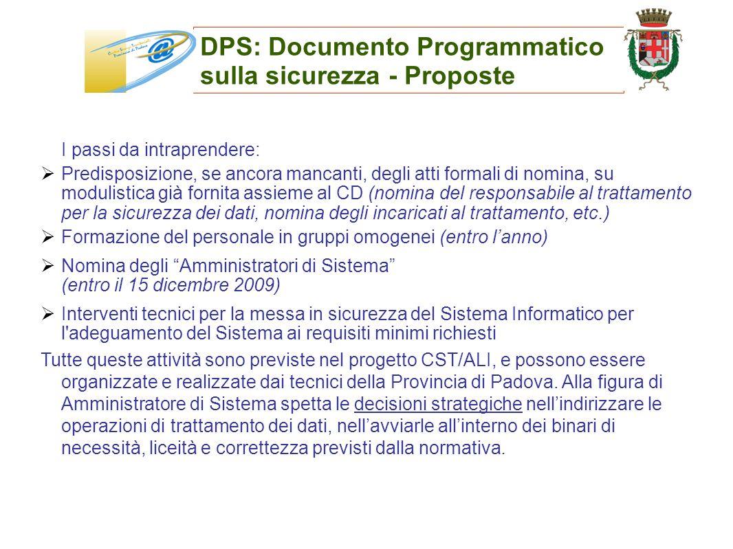 DPS: Documento Programmatico sulla sicurezza - Proposte