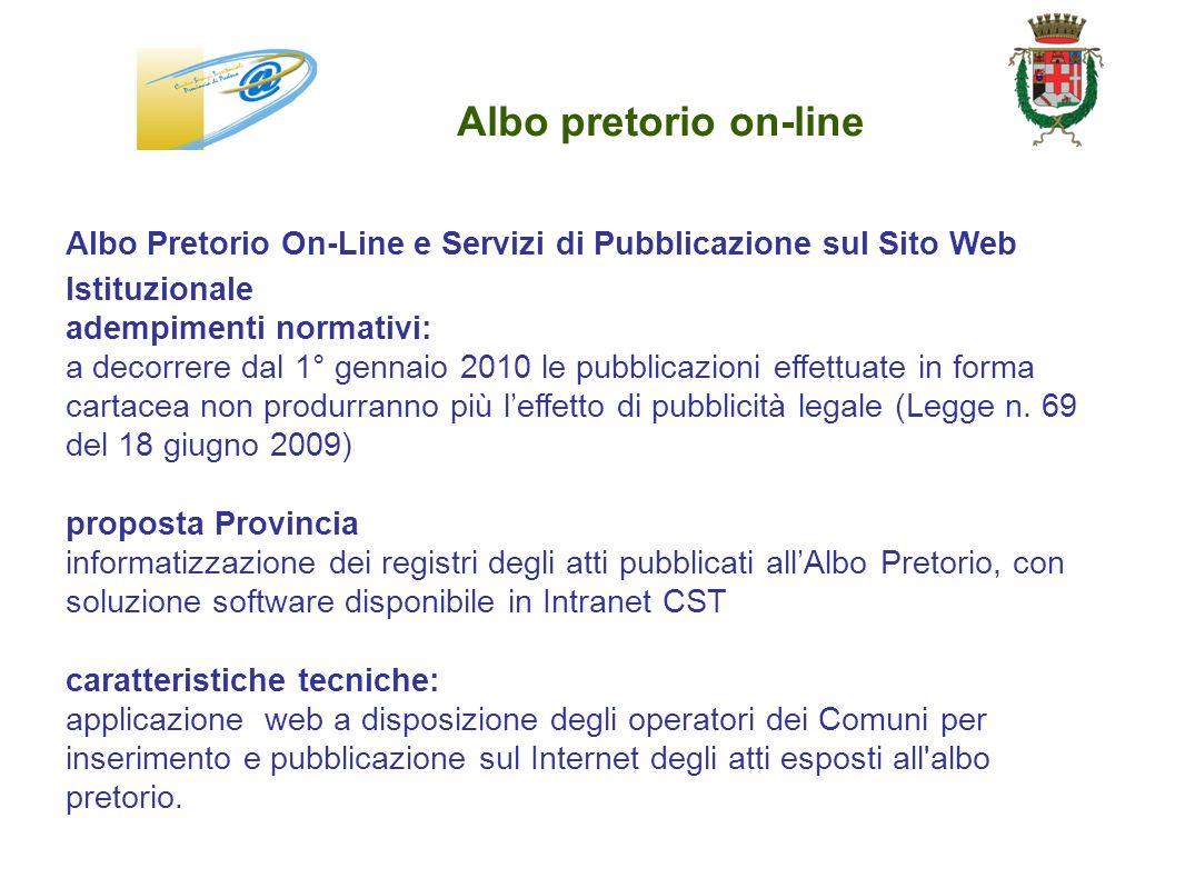 Albo pretorio on-line Albo Pretorio On-Line e Servizi di Pubblicazione sul Sito Web. Istituzionale.