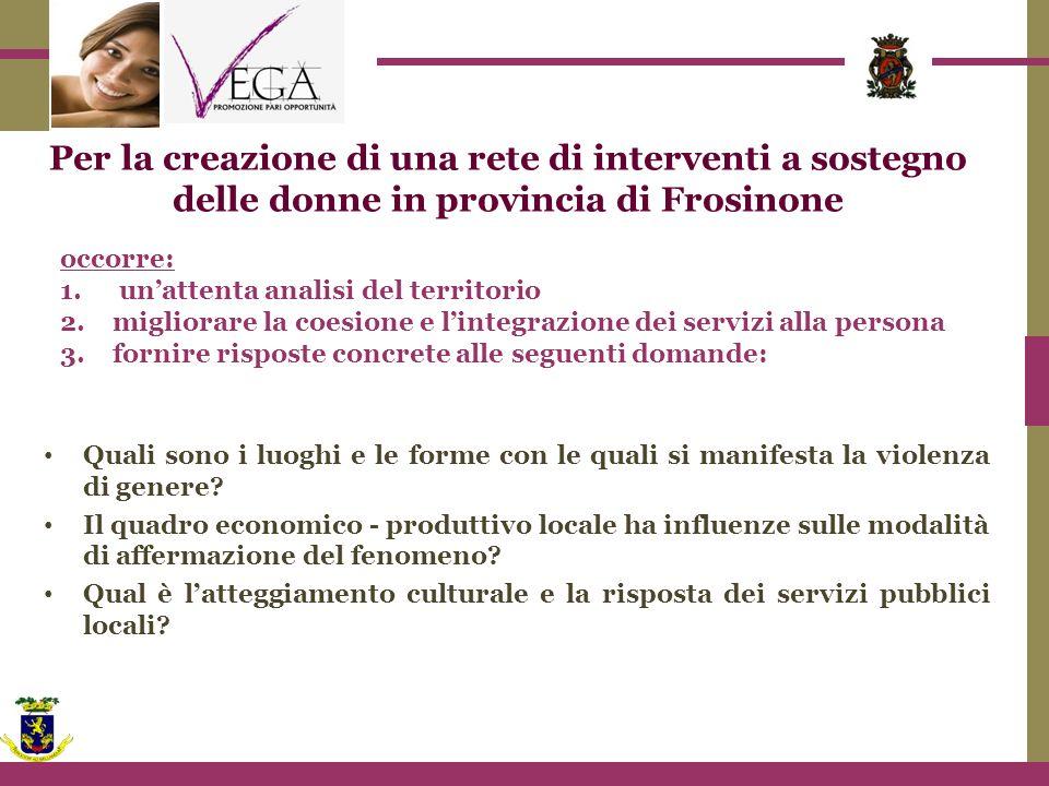 Per la creazione di una rete di interventi a sostegno delle donne in provincia di Frosinone