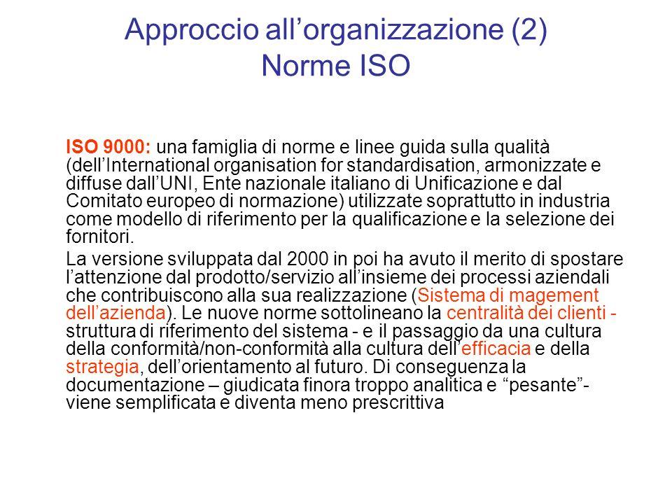 Approccio all'organizzazione (2) Norme ISO