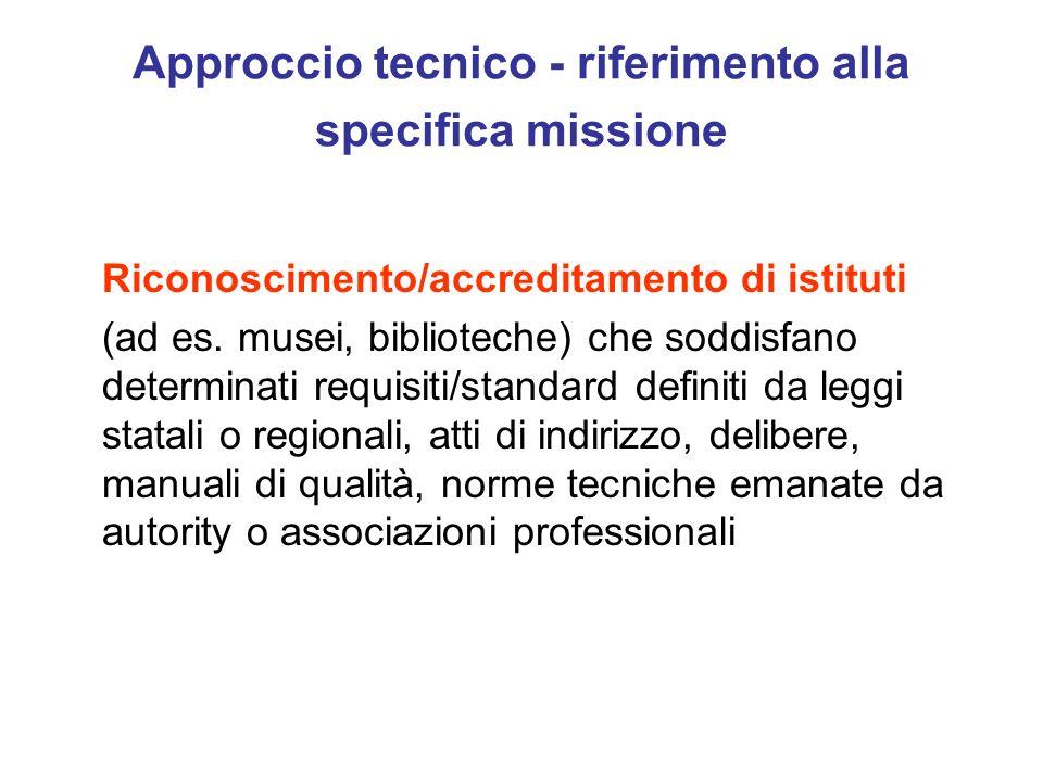 Approccio tecnico - riferimento alla specifica missione