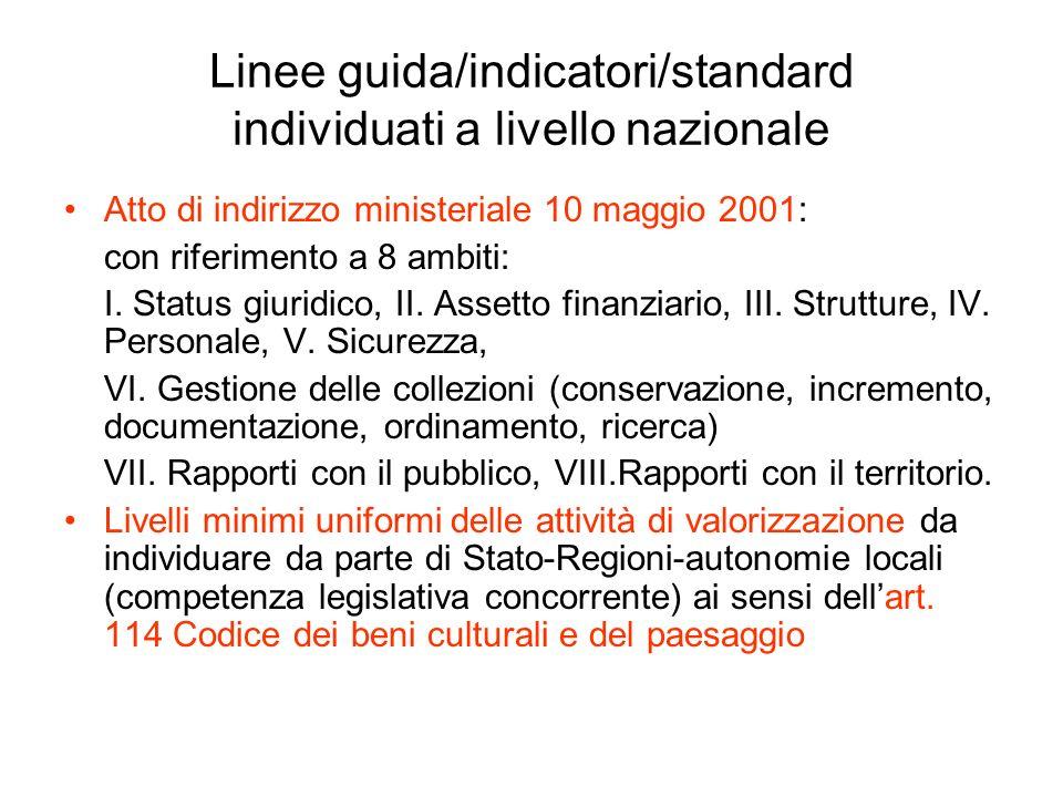 Linee guida/indicatori/standard individuati a livello nazionale