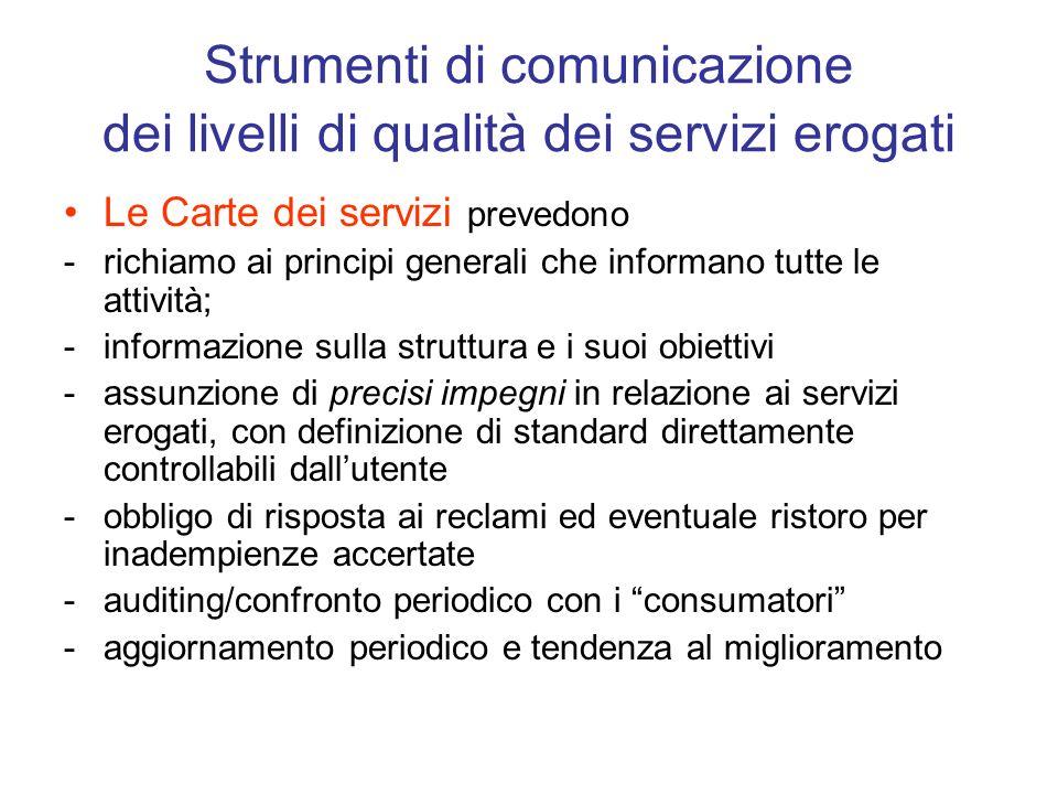 Strumenti di comunicazione dei livelli di qualità dei servizi erogati