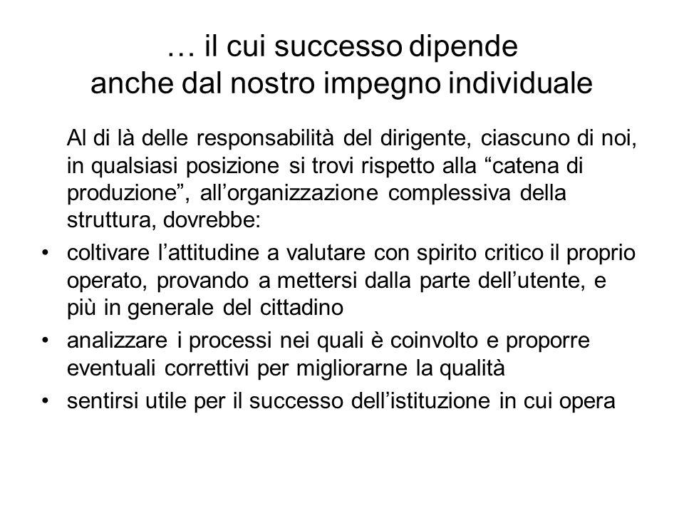 … il cui successo dipende anche dal nostro impegno individuale