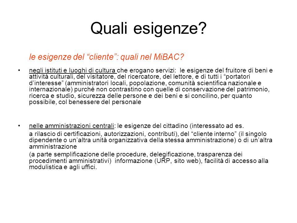 Quali esigenze le esigenze del cliente : quali nel MiBAC
