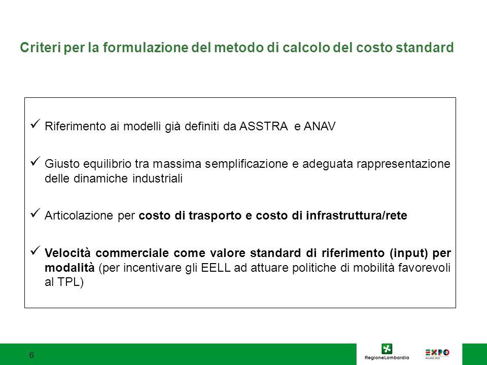 Criteri per la formulazione del metodo di calcolo del costo standard