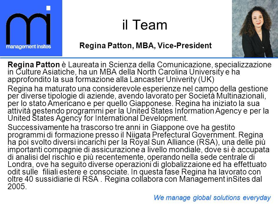 il Team Regina Patton, MBA, Vice-President