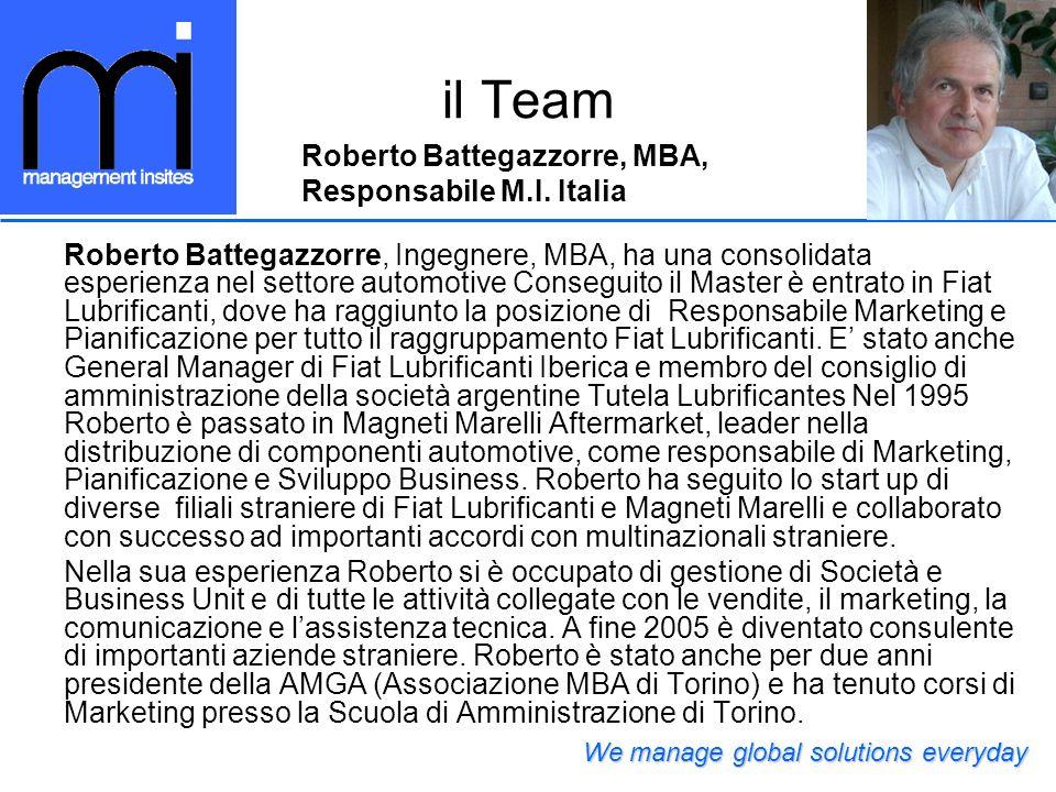 il Team Roberto Battegazzorre, MBA, Responsabile M.I. Italia