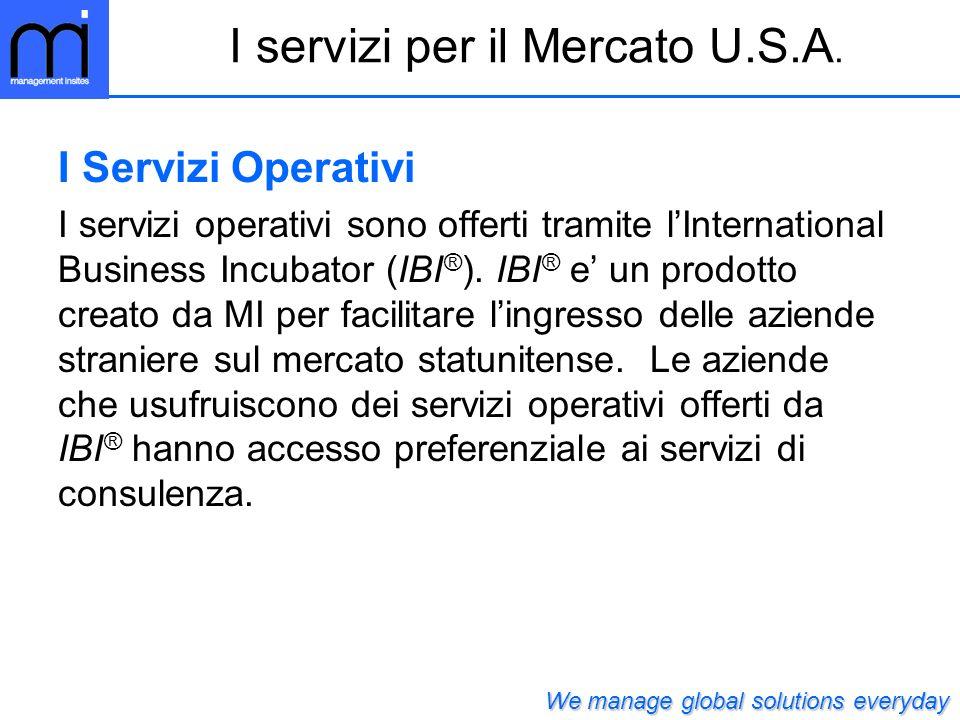 I servizi per il Mercato U.S.A.