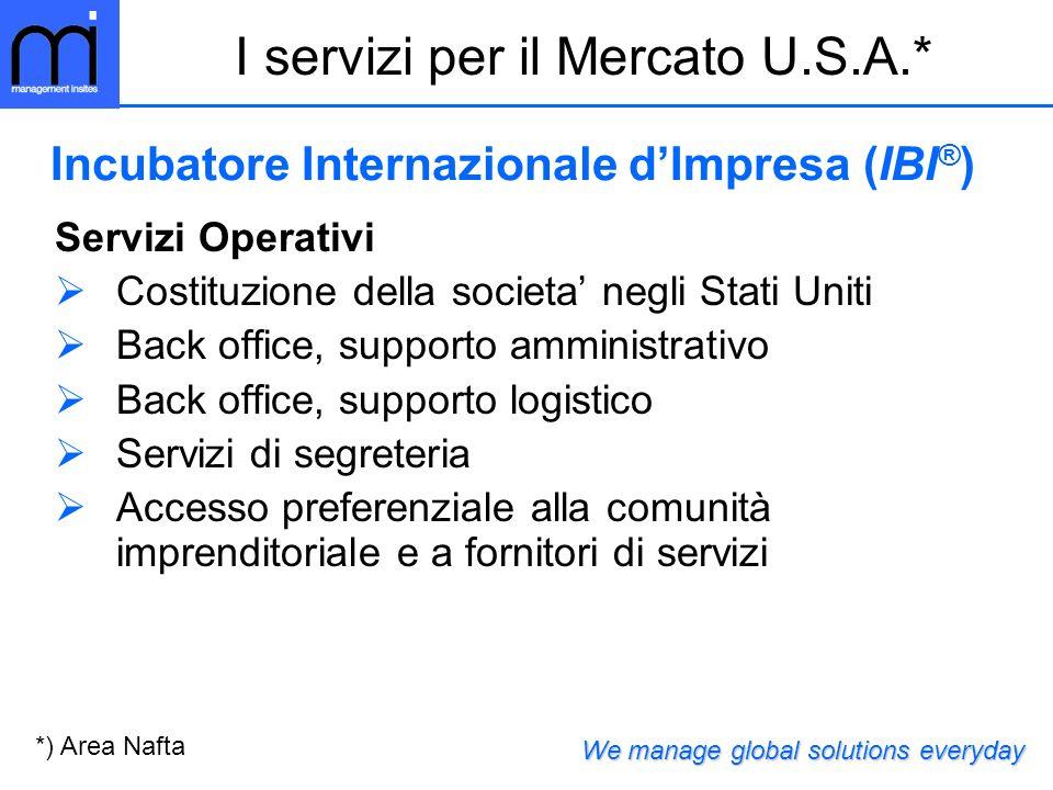 I servizi per il Mercato U.S.A.*