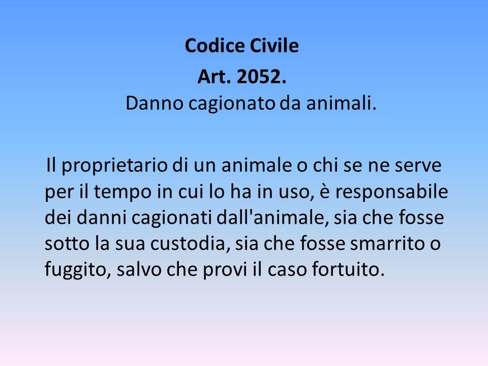 Codice Civile Art. 2052. Danno cagionato da animali