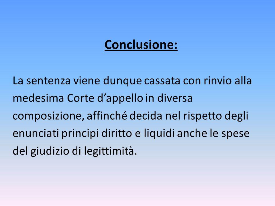 Conclusione: La sentenza viene dunque cassata con rinvio alla medesima Corte d'appello in diversa composizione, affinché decida nel rispetto degli enunciati principi diritto e liquidi anche le spese del giudizio di legittimità.