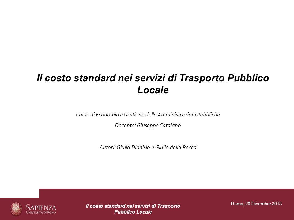Il costo standard nei servizi di Trasporto Pubblico Locale