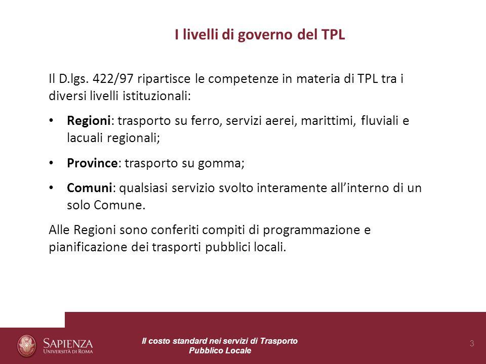 I livelli di governo del TPL